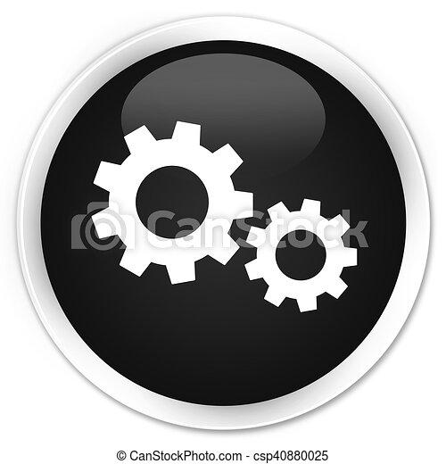 Process icon black glossy round button - csp40880025