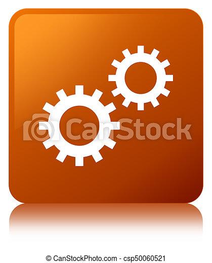 Process icon brown square button - csp50060521