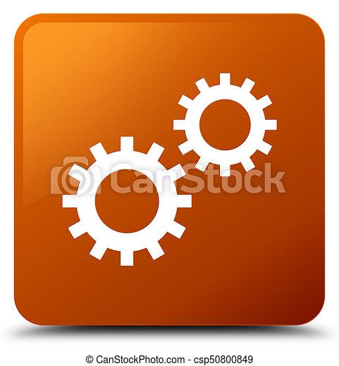 Process icon brown square button - csp50800849