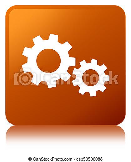 Process icon brown square button - csp50506088