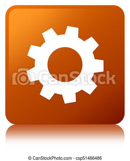 Process icon brown square button - csp51466486