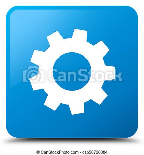 Process icon cyan blue square button - csp50726084