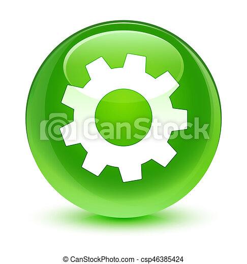 Process icon glassy green round button - csp46385424