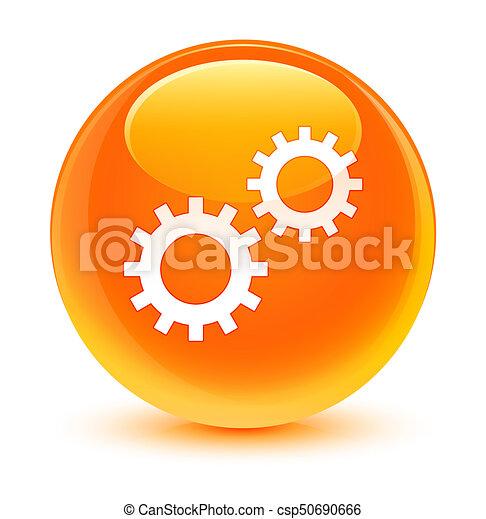 Process icon glassy orange round button - csp50690666