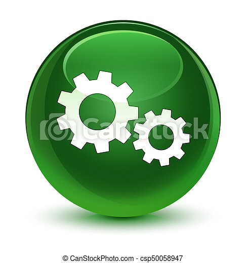 Process icon glassy soft green round button - csp50058947
