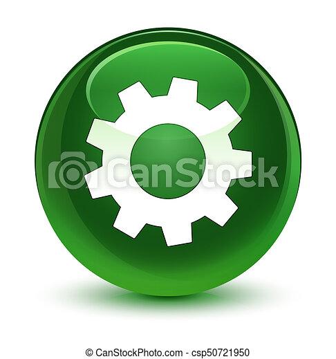 Process icon glassy soft green round button - csp50721950