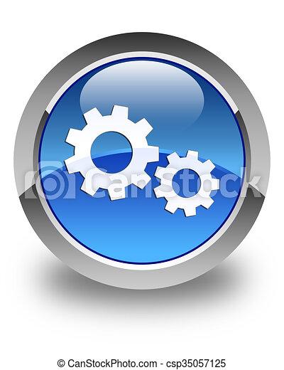 Process icon glossy blue round button - csp35057125