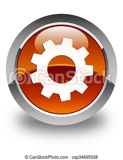 Process icon glossy brown round button - csp34695528