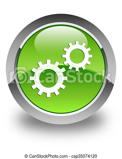 Process icon glossy green round button 3 - csp35074120