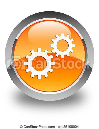 Process icon glossy orange round button 3 - csp35108004