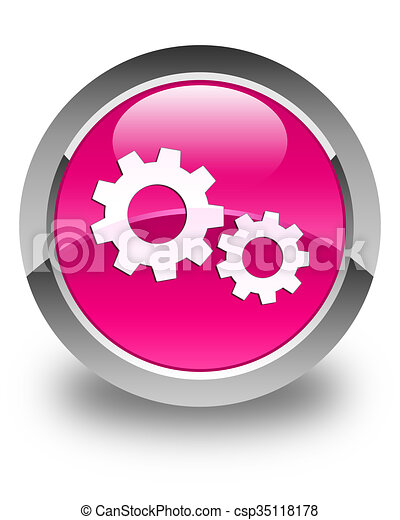 Process icon glossy pink round button - csp35118178