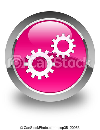 Process icon glossy pink round button - csp35120953
