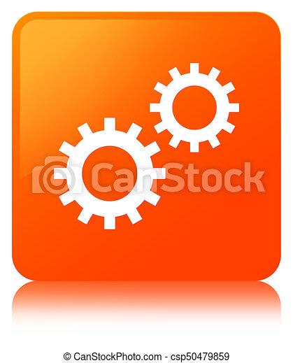 Process icon orange square button - csp50479859