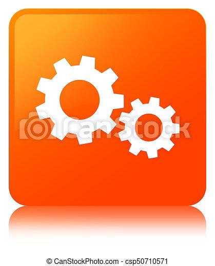 Process icon orange square button - csp50710571