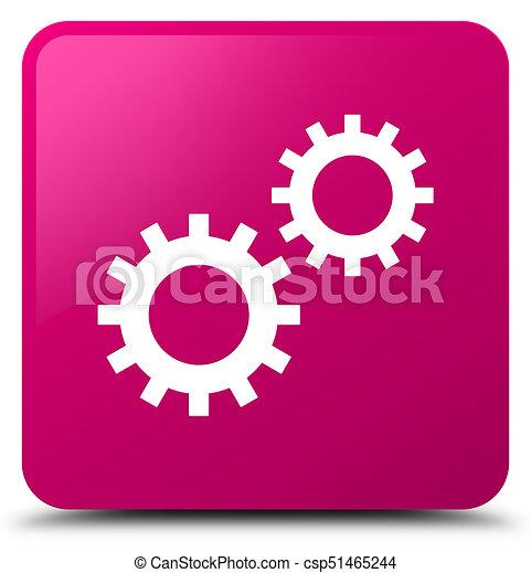 Process icon pink square button - csp51465244