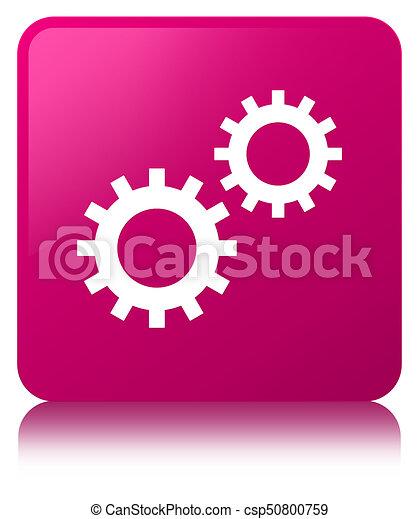 Process icon pink square button - csp50800759