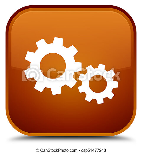 Process icon special brown square button - csp51477243