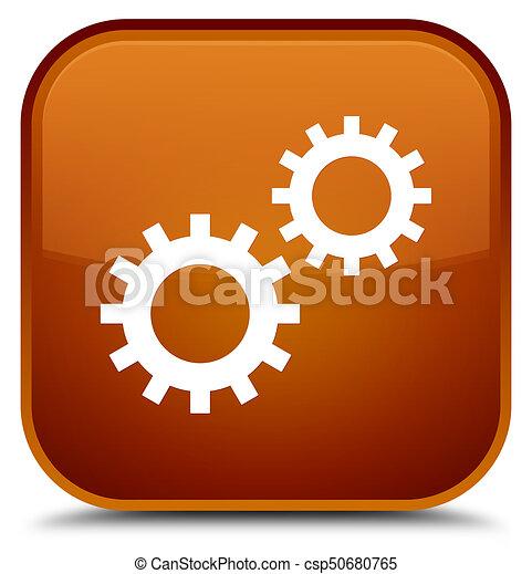 Process icon special brown square button - csp50680765