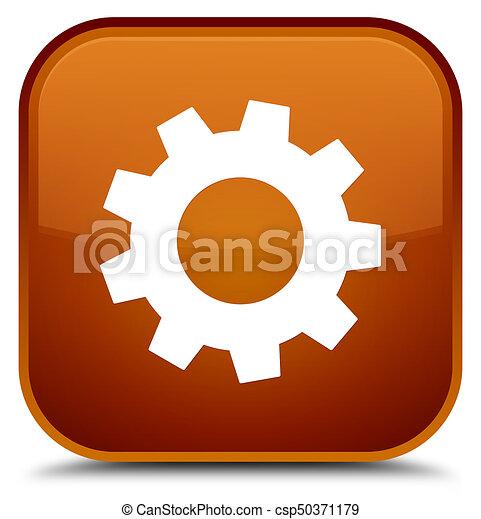 Process icon special brown square button - csp50371179