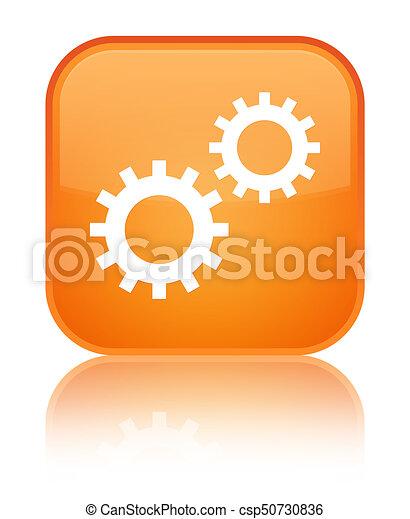 Process icon special orange square button - csp50730836