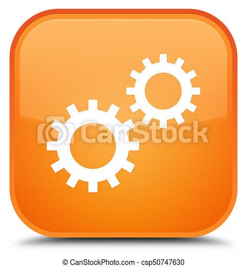 Process icon special orange square button - csp50747630