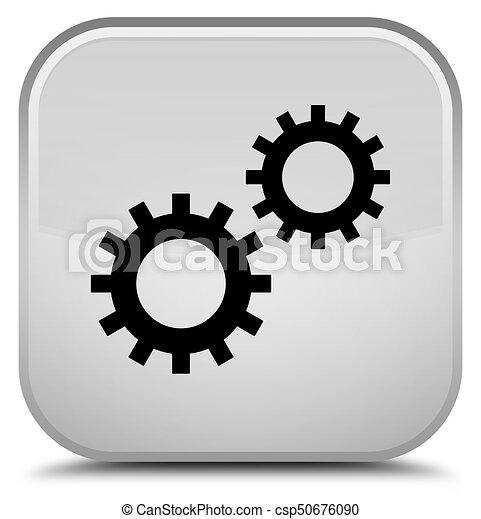 Process icon special white square button - csp50676090