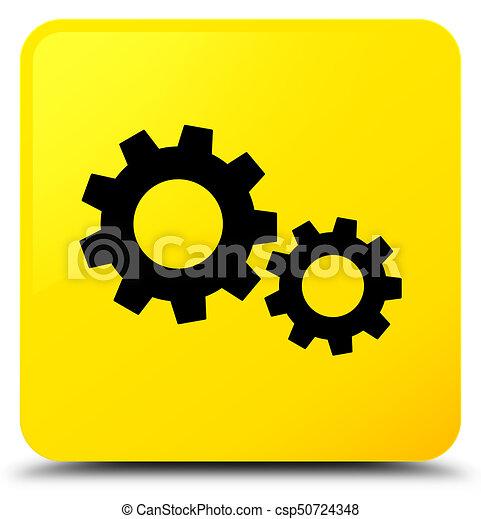 Process icon yellow square button - csp50724348