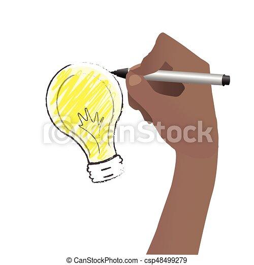 Process of creating an idea. Hand - csp48499279