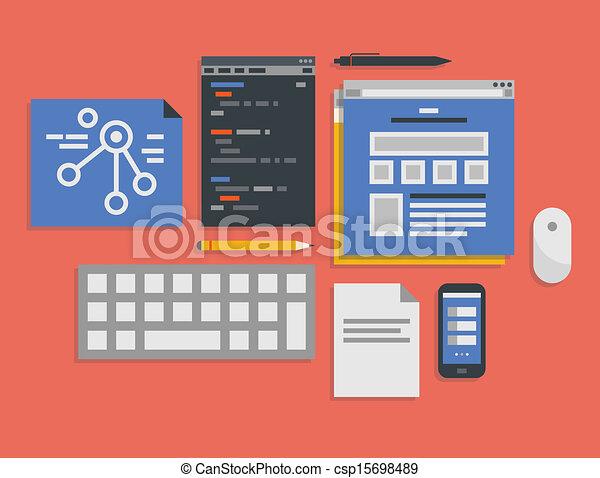 processo, sviluppo fotoricettore, programmazione, illustrazione - csp15698489