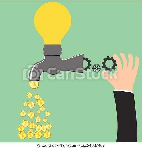 processus, être, robinet, idée, argent - csp24687467