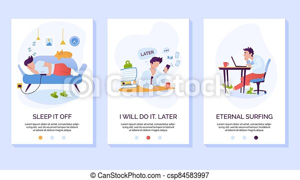 Procrastination and wasting time mobile website vector template. Laziness and social media addiction smartphone web page interface with walkthrough steps instructions - csp84583997