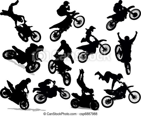 prodezza, set, silhouette, motocicletta - csp6887988