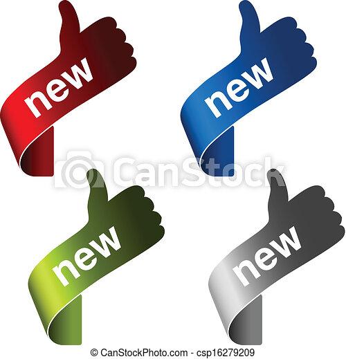 prodotto, etichette, -, illustrazione, mano, vettore, nuovo, angolo, segno, gesto - csp16279209