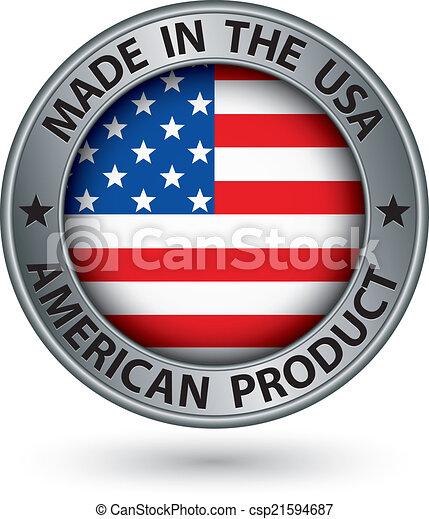 prodotto, fatto, bandiera usa, illustrazione, etichetta, americano, vettore, argento - csp21594687