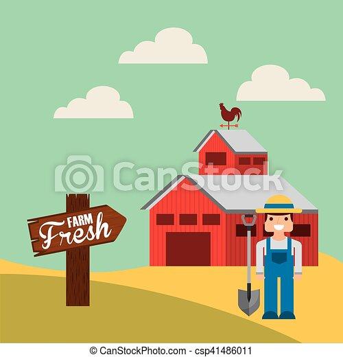 producao, agricultura, paisagem, ícone - csp41486011
