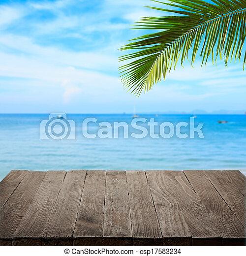 product, blad, houten, tropische , achtergrond, palm, zee, leeg, plek, tafel, lege - csp17583234
