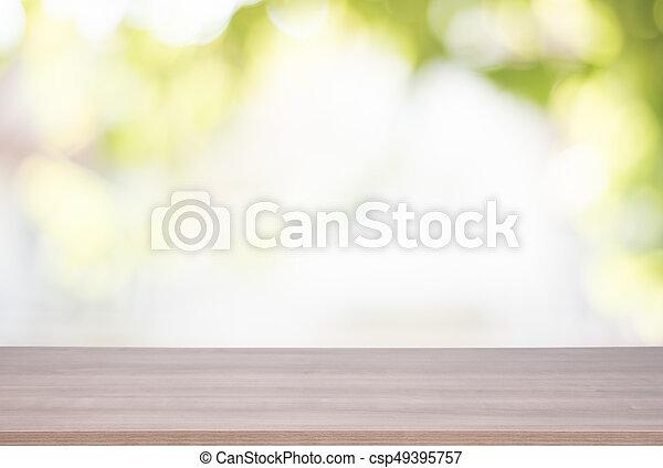 product, bovenzijde, montage., bokeh, hout, groene achtergrond, tafel, display - csp49395757