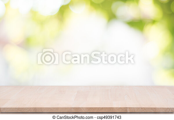 product, bovenzijde, montage., bokeh, hout, groene achtergrond, tafel, display - csp49391743