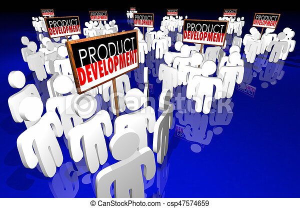 product development signs people working new business 3d illustration