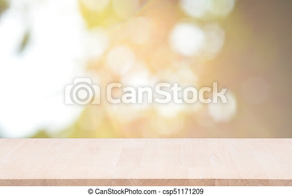 product, licht, bovenzijde, montage., bokeh, hout, groene achtergrond, tafel, display - csp51171209