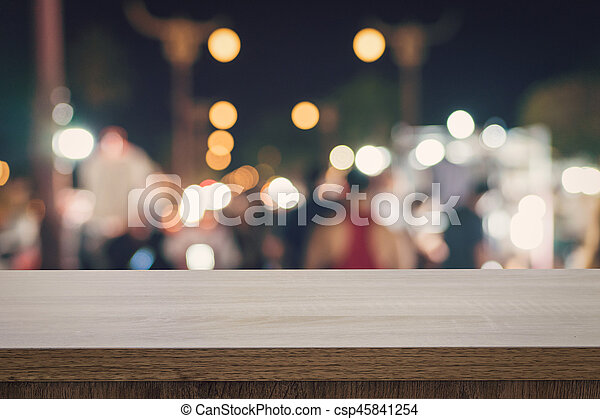 product, montage, bovenzijde, vaag, bokeh, hout, lege, tafel, display, night. - csp45841254