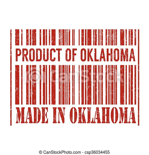 Product of Oklahoma, made in Oklahoma barcode stamp - csp36034455