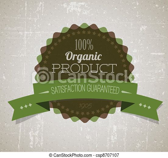 product, organisch, ouderwetse , etiket, oud, vector, retro, grunge, ronde - csp8707107