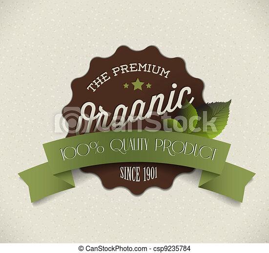 product, organisch, ouderwetse , etiket, oud, vector, retro, grunge, ronde - csp9235784