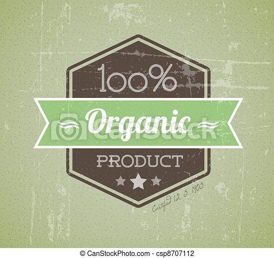 product, organisch, ouderwetse , etiket, oud, vector, retro, grunge - csp8707112