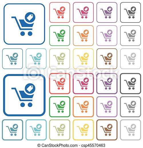 Product purchase features outlined flat color icons - csp45570463