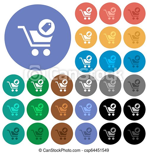 Product purchase features round flat multi colored icons - csp64451549