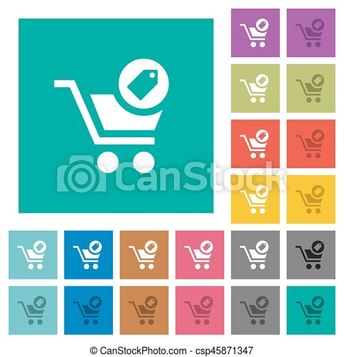 Product purchase features square flat multi colored icons - csp45871347