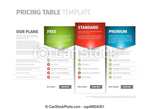 Product / service pricing comparison table with description vector ...