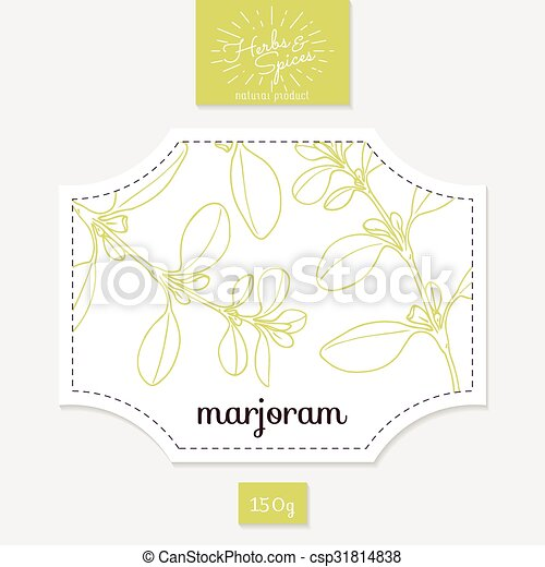Product Sticker With Hand Drawn Marjoram Leaves Spicy Herbs